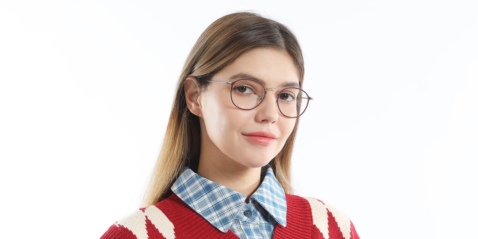 Delta-Round frame glasses with electroplated premium blue light blocking lenses