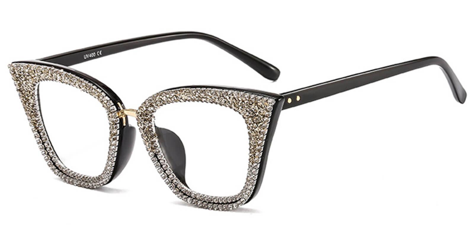 Giada-Retro Womens Cat Eye Glasses with Diamonds Design