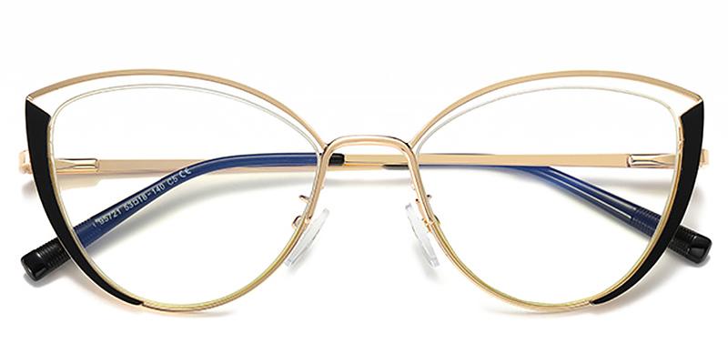 Aitana-Blue Light Trendy Black and Gold Frame Glasses
