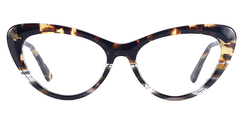 Adalia-Acetate Cat Eye Glasses Frames with Black and White Tortoise Color