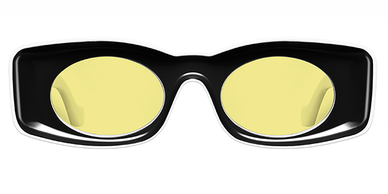 Sirka-Trendy rectangular frame, oval fashion sunglasses TR90 material