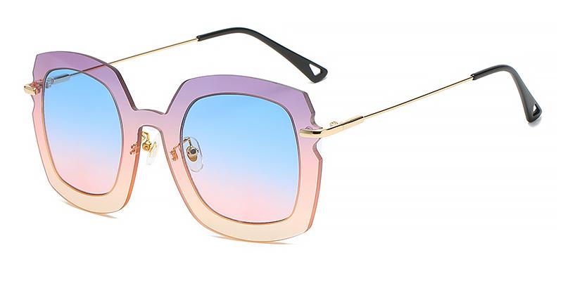 Nyla-Square gradient fashion sunglasses metal material