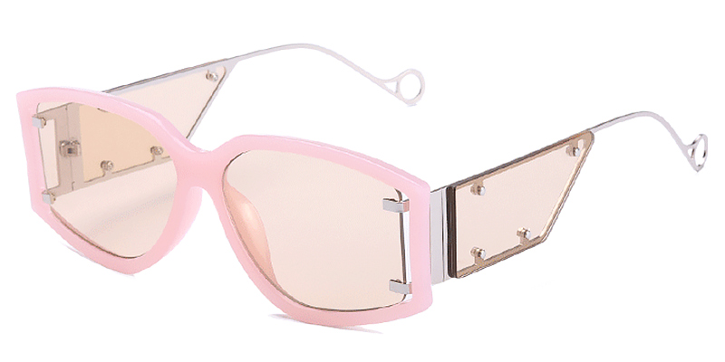 Pearl-Fashion rectangle gradient lens sunglasses for women and men