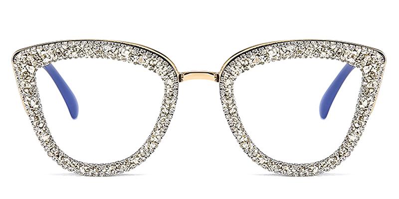 Coco-Retro big frame cat eye diamond-studded ladies flat glasses