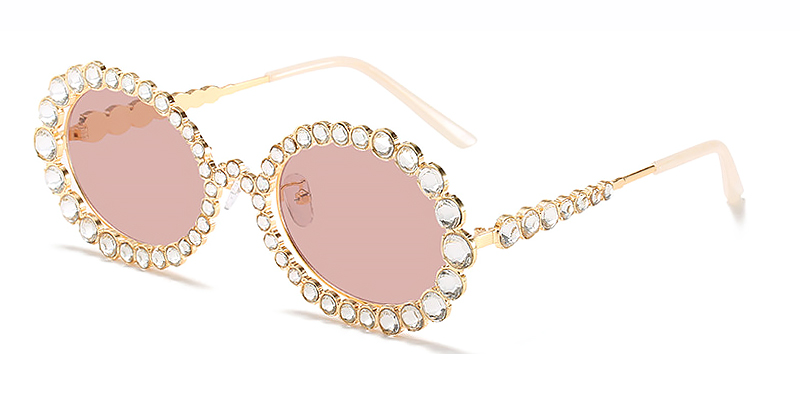 Ekat-Round silver frame fashion ladies sunglasses Metal material