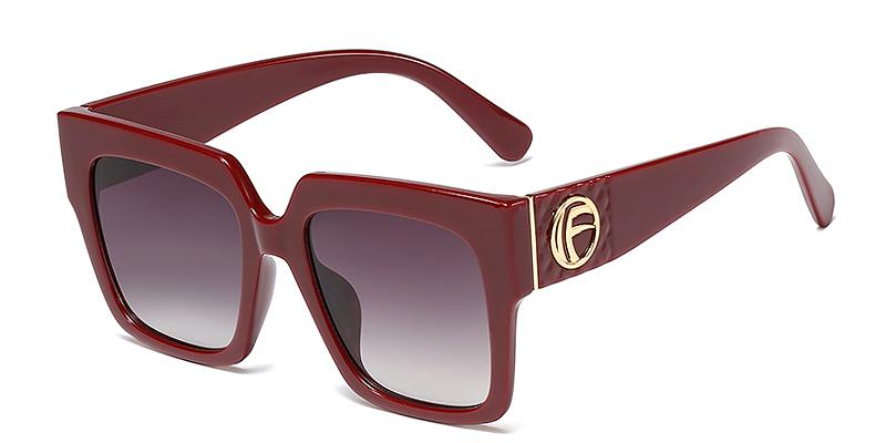 Kula-Square oversized casual sunglasses gradient grey TR90 material
