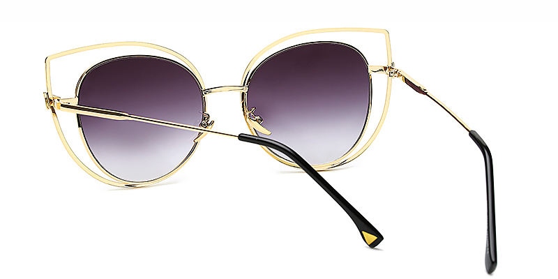 Pascale-Ladies Fashion Oversized Cat Eye Sunglasses Metal Material