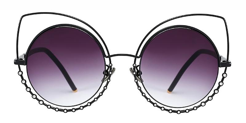 Silkie-Ladies Fashion Diamond Round Cat Eye Sunglasses Metal Material