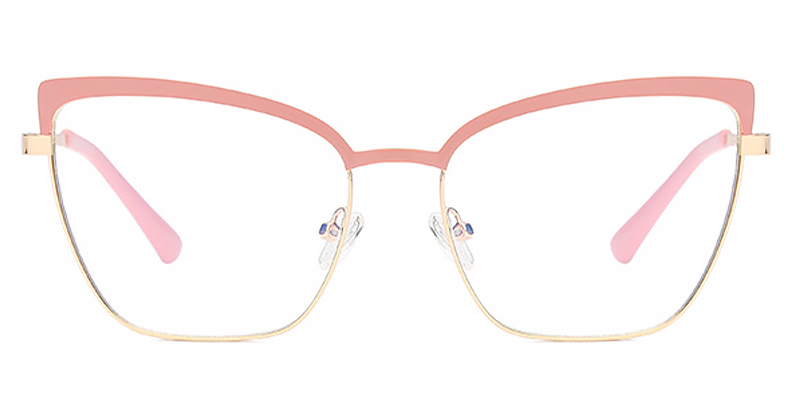Gia-Pink cat eye frame women anti-blue glasses metal flat lens