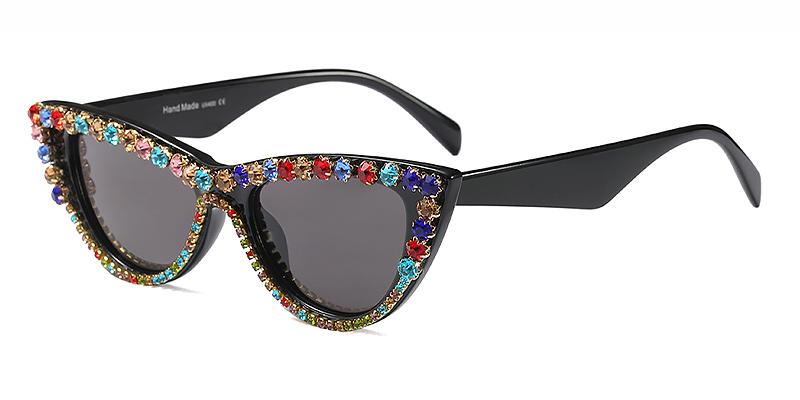 Liuda-Women classic all gray cat eye sunglasses TR90 material