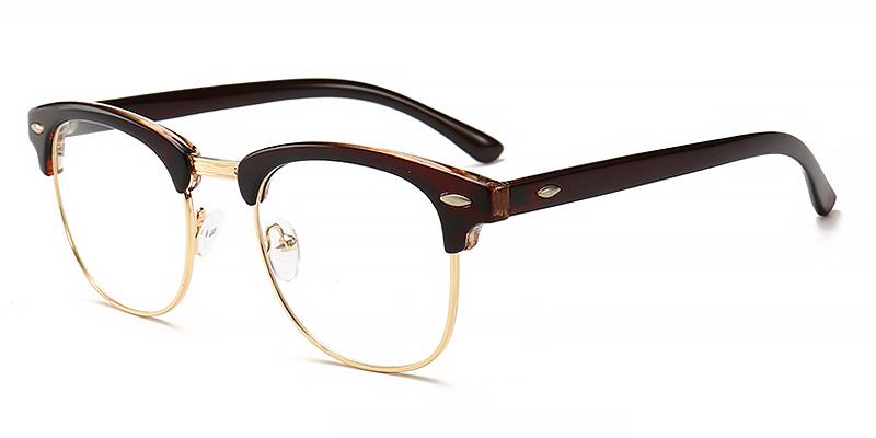 Wyatt-Half-rimmed round blue light glasses for women and men