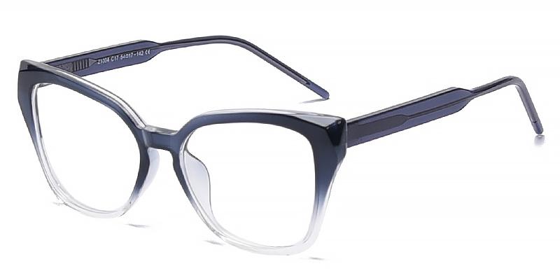 Winter-Full-rimmed cat-eye blue light glasses with vibrant gradation