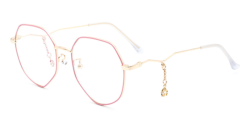 Jasmine-Stylish full-rimmed metal glasses with gold pendant