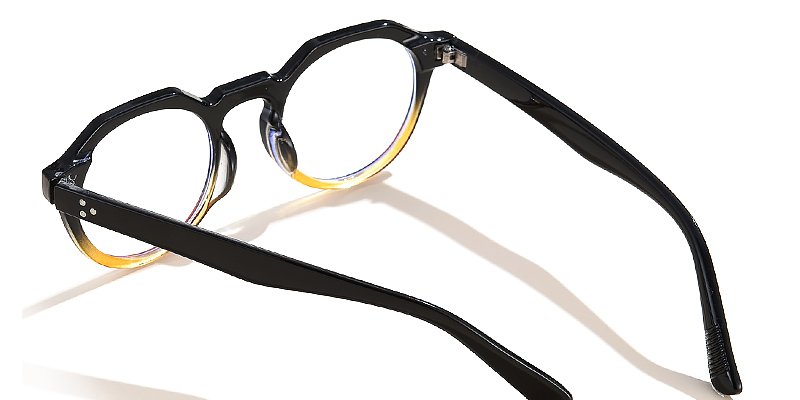 Ice-Round blue light glasses retro style with rivets