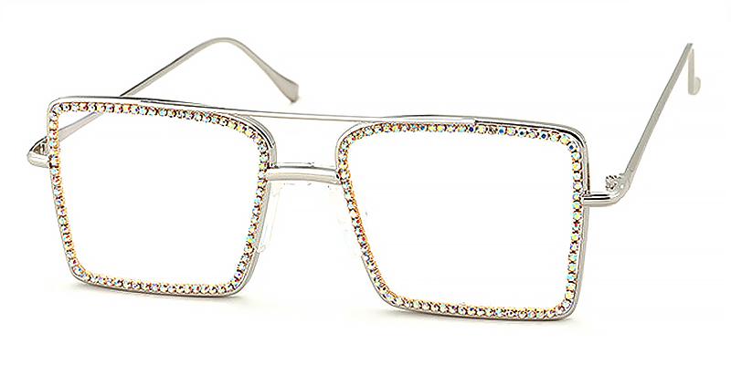 Tess-Square double-bridge blue light glasses full rim