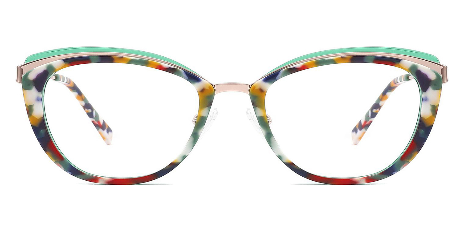 Kenna-4 Colors Acetate Metal Stylish Design    Oval Glasses for Women