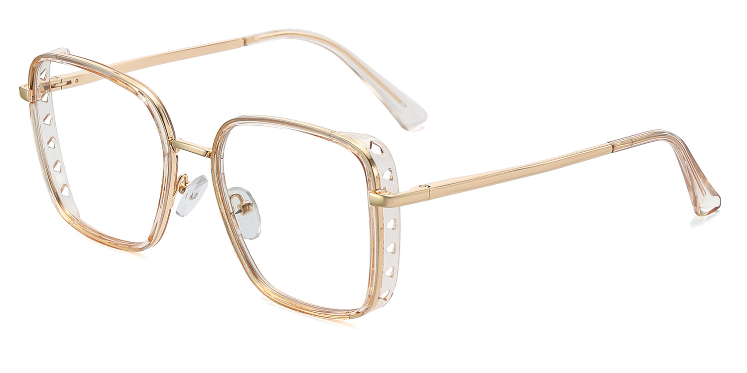 Paccia-6 Colors Personalized Skeleton TR90 Metal Square Glasses for Women