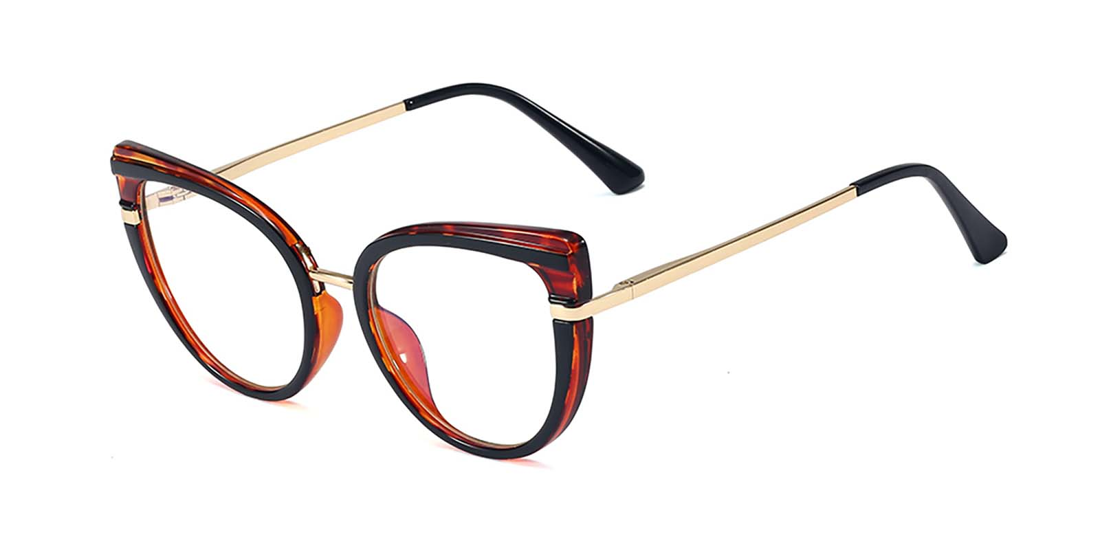 Kimora-Cat eye glasses with luxury embedded bright-colored metal hinges