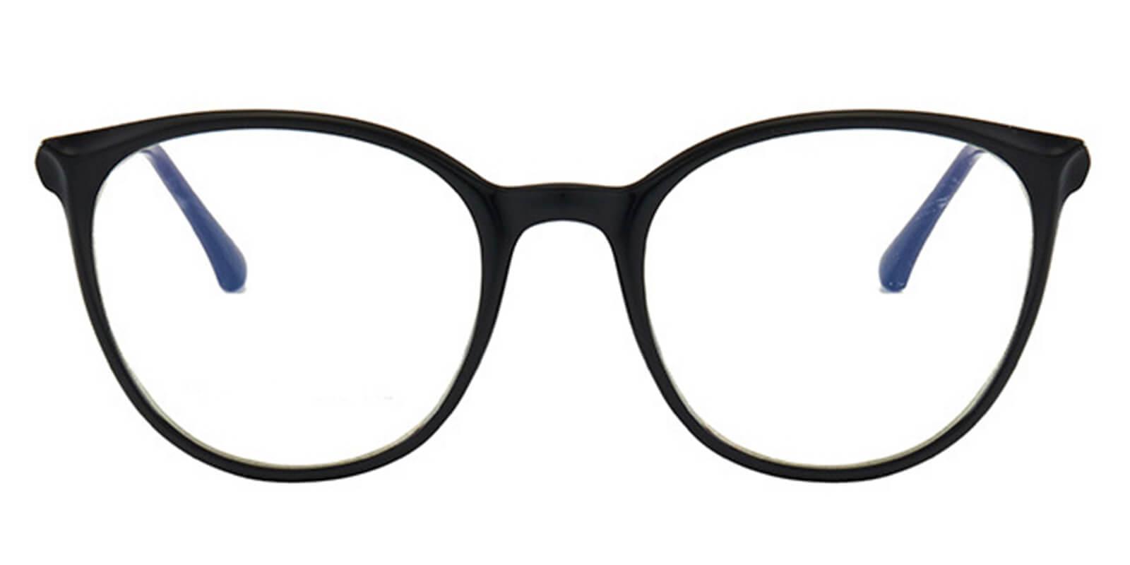 Larkk-Black Women Cat Eye Glasses with Metal Temples