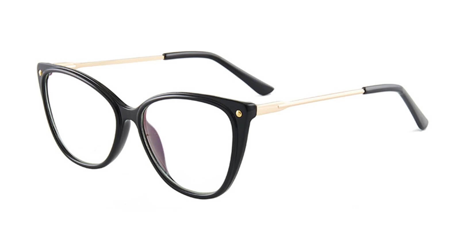 Celebrity-Full Rim Black Super Light Womens Cat Eye Glasses with Metal Temple